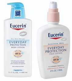Eucerin Sensitive Skin Everyday Protection Face Lotion SPF 30 >> use as a daily moisturizer after softener in the morning Whats In My Makeup Bag, Face Lotion, Skin Care Cream, Sunscreen, Face And Body, Dry Skin, Sensitive Skin, Free Stuff, Free Samples