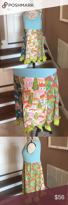Matilda Jane Good Hart Farmers Market Tank Who Hasn't heard of Matilda Jane clothing?!?! This super cute Tank dress is screaming tropical island!! Have 2 so can have Mom & Daughter match or Besties! Have one size Medium & one size Small-- both worn once!!! In Excellent condition Matilda Jane Dresses Midi