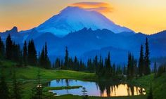 Mount Rainier at sunset from Tipsoo Lake. Taking the train from Vancouver to San Francisco