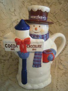 Vintage Hershey Houston Harvest Gifts Stoneware SnowMan Hot Chocolate/Tea Pot