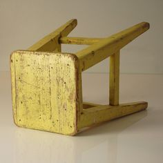 Yellow Industrial Primitive Stool by MyMidCentury on Etsy, $55.00