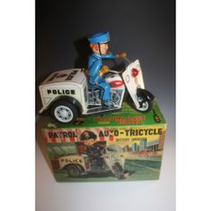 1950'S JAPAN VINTAGE NOMURA POLICE PATROL AUTO-TRICYCLE BATTERY OPERATED TIN TOY