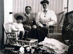 In common with many others of their era and class, the Speddens were inveterate travellers. They are photographed here at Madeira, where they wintered in 1909. Whilst there, Douglas was striken with measles and had had to be quarantined. His favourite toy, a Stieff bear called Polar, is seen on the ground at his feet. Polar would later accompany the family off the Titanic in Lifeboat No. 3.
