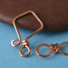handmade wire clasps   Handmade Clasp, Small Copper Hook Set, Artisan Jewelry Findings ...