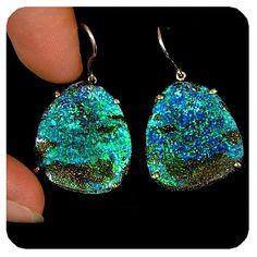 Split Face Solid Boulder Opal Earrings in yellow Gold