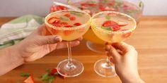 Brunch Punch.  Sprite, orange juice, pineapple juice, vodka, Prosecco, strawberries, raspberries and mint leaves