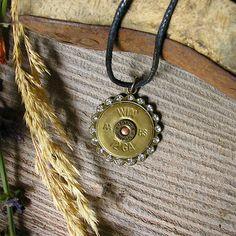 WIN Winchester 12 Gauge Shotgun Shell Pendant  by RusticSpoonful, $18.00 #shotgun #jewelry #bling #rhinestone #pendant #necklace #gunshell