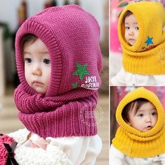 Winter   Autumn Baby Siamese Cap Kids Knitted Caps Ear Protect Hats Crochet  Baby Hats 974c94db276c