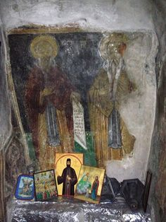 Wall painting of Saints from the Cave of the 318 Holy Fathers in Archimandrita village in Pafos!!