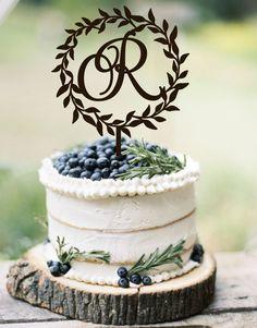 Wedding Cake Topper Wreath Monogram Rustic Cake Topper Wedding Monogram Wooden Cake Topper Silver Gold Wedding Topper by WeddingStampStudio on Etsy