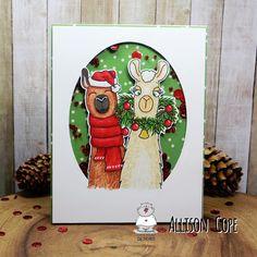 "Christmas Llama Shaker Card by Allison Cope featuring the digital stamp set ""Fa-la-la-la-Llamas"" by Gerda Steiner Designs. Llama Christmas, Christmas 2017, Christmas Cards, Llama Images, Shaker Cards, Card Tutorials, Llamas, Copic Markers, Santa Hat"