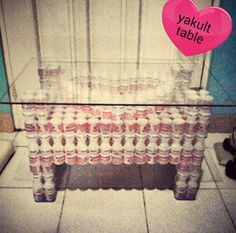 Table made from yakult ♡