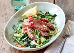 Sesame Tuna Steak With Wok-Fried Vegetables - Food Republic Fish Recipes, Healthy Recipes, Yummy Recipes, Steak Dishes, Tuna Steaks, Fried Vegetables, New Cookbooks, Wok, Paleo Diet