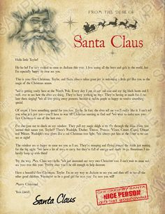 Warning letter from santa naught list christmas pinterest babys first christmas letter move your mouse over the image to highlight personalizations spiritdancerdesigns Images