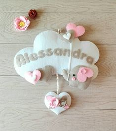 Baby wreath cloud, elephant and hearts in felt . the cloud is entirely handmade and can be persona Cloud Nursery Decor, Garland Nursery, Clouds Nursery, Elephant Nursery, Easy Crochet Blanket, Crochet Blanket Patterns, Baby Crafts, Felt Crafts, Baby Kranz