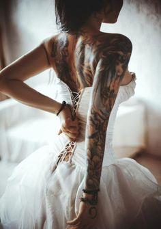 inked, tattoo, bride, braut, wedding, tattoo girl, hochzeit, brautkleid, fashion, mode