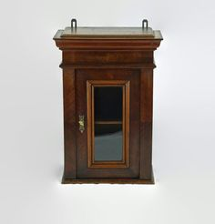 Antique Lockable Wooden Wall Cabinet with Inset Glass Door Mortise Lock, Decorative Mouldings, Wood Cabinets, Wooden Walls, Antique Items, Glass Panels, Glass Door, Master Bathroom, Solid Wood