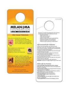 Skin Cancer Awareness Hang TagThis durable vinyl Skin Cancer Self Exam/Preventative hang tag addresses one of the fastest growing cancers.   #skincancer #melanoma