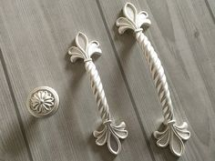 Shabby Chic Dresser Knob Pull Drawer Knobs Pulls Handles White Gold French  Kitchen Cabinet Handle Pull Furniture Ornate Decorative Hardware |  Pinterest ...