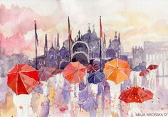 San Marco by Maja Wrońska. Maja is one of my favorite artists ever. Her architectural watercolors are mesmerizing.