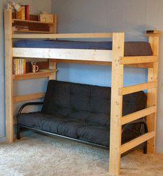 futons  loft bed     loft bed plans   how to build a loft frame for dorm bed   interior      rh   pinterest