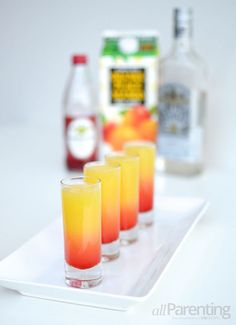 Tropical tequila sunset shooter
