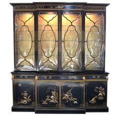 Karges Chinoiserie Breakfront with Pull-Out Desk, Bubble Glass, and Light | From a unique collection of antique and modern cabinets at https://www.1stdibs.com/furniture/storage-case-pieces/cabinets/