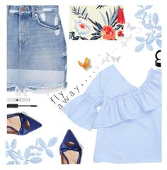 """""""Fly Away"""" by juliehooper ❤ liked on Polyvore featuring MANGO, Sam Edelman, John Lewis, MAC Cosmetics, denim, Blue and polyvoreeditorial"""