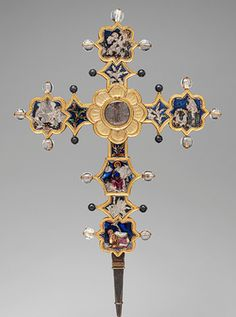 Reliquary Cross, ca. 1366–1400 Italian, the Marches Translucent enamel, silver, gilded silver, rock crystal, glass, and iron