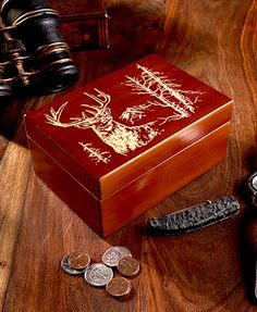 Your favorite nature enthusiast will love storing miscellaneous trinkets inside this Northwoods Box. You can keep it by the front door, offering him a place to empty his pockets or on the nightstand for his watch, wallet and more. The lid is etched with