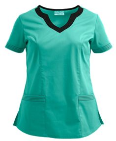 UA Butter-Soft STRETCH Scrubs Color Block Scallop Neck Top Style # BSSC494  #uniformadvantage #uascrubs #adayinscrubs #scrubs #buttersoft #buttersoftstretch