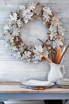 Lovely fall decor with beautiful wreath made of leaves