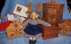 Vintage German Margret Meng Wooden & Cloth Doll & Dora Kuhn Dollhouse