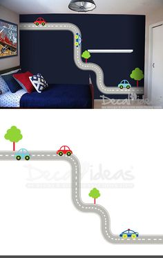 Car with Tracks Decals, Nursery Decals, Tree Decal, Road Track - Cars Wall Decal, Kids Decal, Cars Decal - Customised - 50% OFF