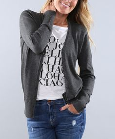 Love this Charcoal Button-Up Cardigan - Women & Plus on #zulily! #zulilyfinds