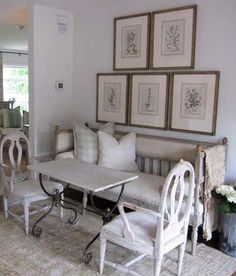 art and placement, yes!  white and neutral, yes!  shabby chic, yes! TG interiors: Arteriors and Lisa Luby Ryan