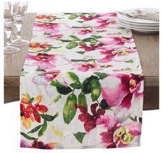 """Saro Lifestyle Floral Printed Design Linen Table Runner (16""""x72"""") - Saro Lifestyle®"""