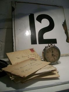 Vintage Alarm Clock...old metal numbers...stained & faded letters.