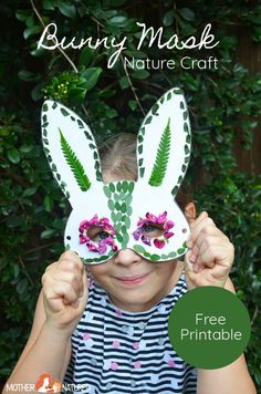 Hop by and grab this free bunny nature mask printable and keep your kids occupied with this good old-fashioned Easter activity for kids. Forest School Activities, Easter Activities For Kids, Easter Crafts For Kids, Craft Activities, Quick Crafts, Crafts For Kids To Make, Fun Crafts, Bunny Mask, Easter Art