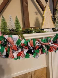 Christmas Tree Garland, Christmas Banners, Plaid Christmas, Christmas Snowman, Rustic Christmas, Christmas Decorations, Holiday Decor, Rag Garland, Fabric Garland