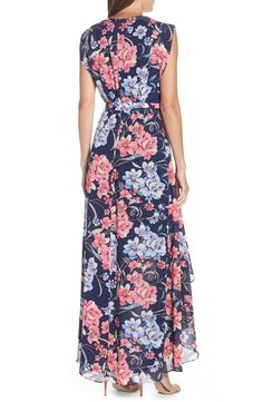 Eliza J Floral High/Low Faux Wrap Chiffon Dress (Regular & Petite) | Nordstrom