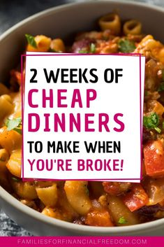 Find quick and easy cheap meals! Make 14 cheap meals under $5! These cheap dinners are great for meal planning! Find easy meal planning for budget meals! Make easy dinners for families. #dinner #cheapmeals #meals #mealprep #mealplanning #savemoney Cheap Dinners To Make, Quick Cheap Meals, Cheap Family Meals, Large Family Meals, Cheap Recipes, Easy Dinners, Frugal Meals, Budget Meals, Frugal Recipes