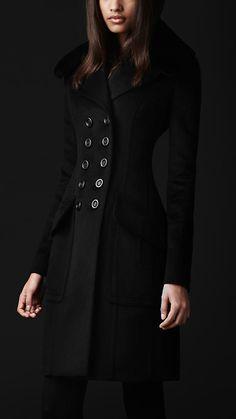 Fur Collar Top Coat   Burberry