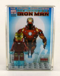 LEGO DC Marvel Superheroes Minifigure Display with figure - Iron Man with triangle - Avengers. $20.00, via Etsy.