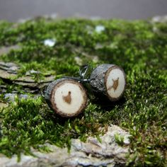 MINIATURE Hickory Twig Rustic Wooden Stud Earrings by Tanja Sova - pinned by pin4etsy.com
