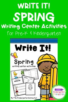 Write It! Spring Writing Center Activities are perfect for getting kids labeling, learning vocabulary, writing, and creating! These activities work well in a writing station or in literacy centers too. The pack is 28 pages long and includes 5 different activities. This is a great resource for kindergarten teachers, and your kids will love these fun spring-themed writing station activities! Kindergarten Writing Activities, Kindergarten Teachers, Activity Centers, Literacy Centers, Small Group Reading, Writing Station, Kids Learning, Vocabulary, Spring