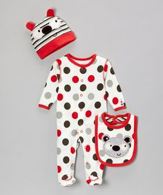 Take a look at this Red & White Koala Polka Dot Footie Set - Infant by Zip Zap on #zulily today!