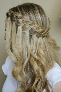 22 of the Prettiest Waterfall Braids on Pinterest   Glam Waterfall Braid With Curls