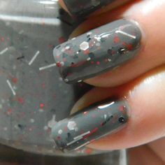 Newsprint Nail Polish - Grey Black Red Glitter Nail Polish