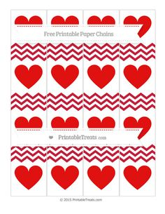 Cardinal Red Chevron  Heart Paper Chains